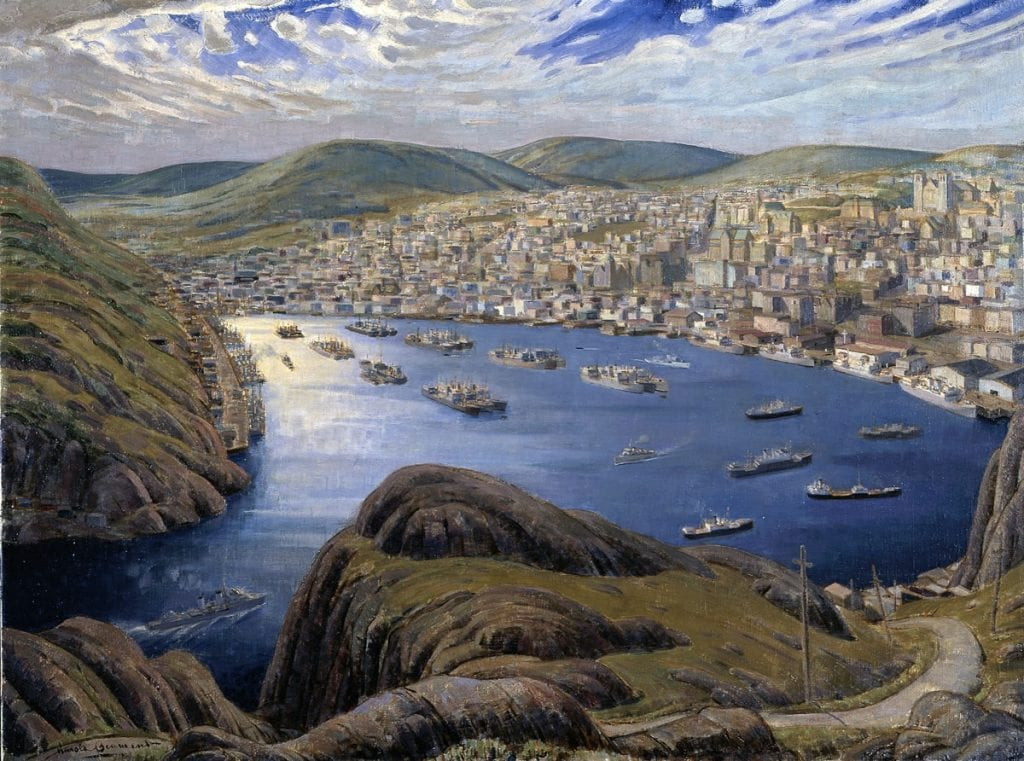 St. John's Harbour, Newfoundland during the Second World War. Painting by Thomas Beamont [Beaverbrook Collection of War Art, Canadian War Museum, artifact number 19710261-1048]. Reproduced with permission.